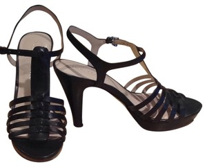Franco Sarto Heel Sandal Strappy Black Leather Sandals