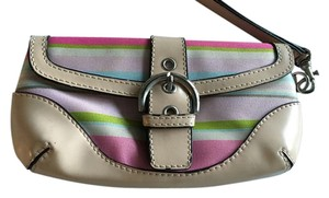 Coach Colored Strips Wristlet in Beige with hot pink, pink and slight green