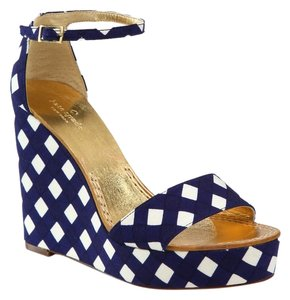 Kate Spade Summer Wedges Heels 7.5 Navy Blue Sandals