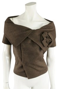 Oscar de la Renta Off Flower Angora Top Brown