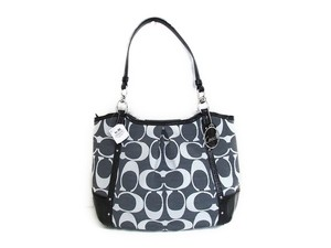 Coach Shoulder Alexandra Shantung Signature Tote in Black/