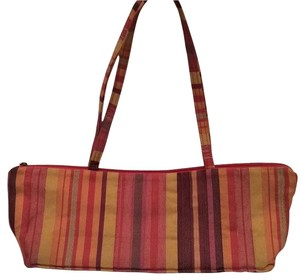 Maruca Striped Fabric Bright Color Satchel in orange, red, yellow