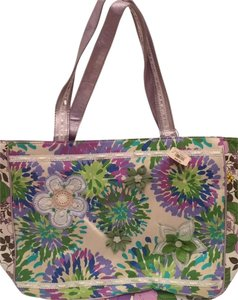 Bath and Body Works Floral Buttons Ribbon Feminine Tote in Lavendar, green, white, blue
