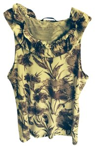 Banana Republic Top White With Purple Flowers
