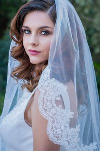 Zveil Ivory and White Short Lace Waist Length Bridal Veil