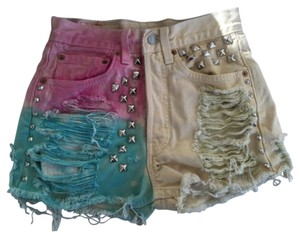 Levi's Studded Dip Dye Distressed Custom Mini/Short Shorts Multi