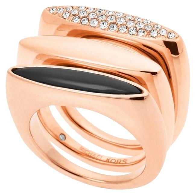 Item - Rose Gold Tone/ Black/ Clear Mkj4514 Fashion Tribal Stackable Crystal Pave Size 8 Ring