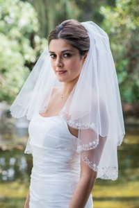 Zveil Waist Length Two Tier Veil With Blusher