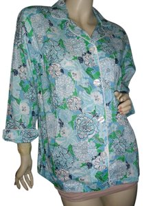 Lilly Pulitzer Button Down Shirt Palm Beach blue floral