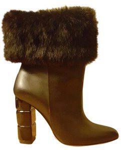 Salvatore Ferragamo Fur Leather Stacked Heel Brown Boots