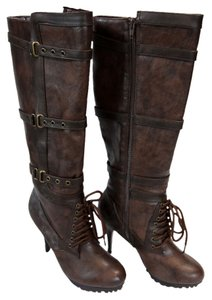 Bumper Military Steampunk Lace Up Laces Straps Grommets Faux Leather Brown, Brass Boots