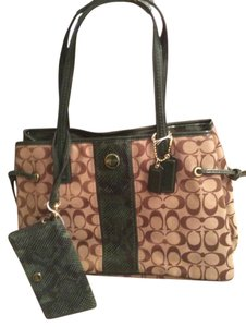 4c2cb034737 Coach Signature Stripe Python Carryall Tote Shoulder Bag