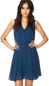 Forever 21 21 Love 21 Enchanted Georgette Peacock Blue Dress