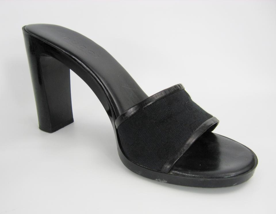 e9fb3f5f4e4df Gucci Designer Made In Italy Gg Monogram High Heels Black Sandals Image 7.  12345678