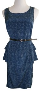 Forever 21 21 Love 21 Work Sheath Ruffle Peplum Peacock Belt Dress
