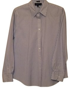 Jones New York Button Down Shirt Light blue stripe