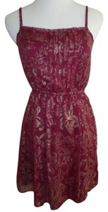 Abercrombie & Fitch short dress Burgundy Foil Burgundy Wine Oxblood Foil Floral Gold Print on Tradesy