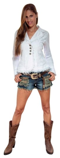 "80%OFF Lirome Organic Cotton Luxury Embroidered ""tahiti"" Cottage Chic Blazer White Womens Jean Jacket - 52% Off Retail"