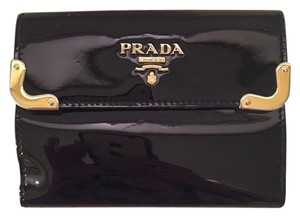 Prada 100% Authentic Prada Black Patent Wallet