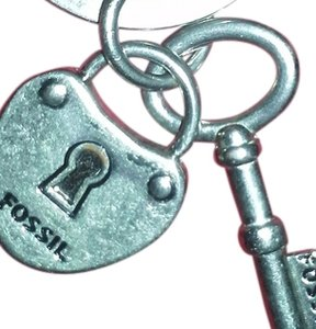 Fossil Key Chain with Lock & Key Charms