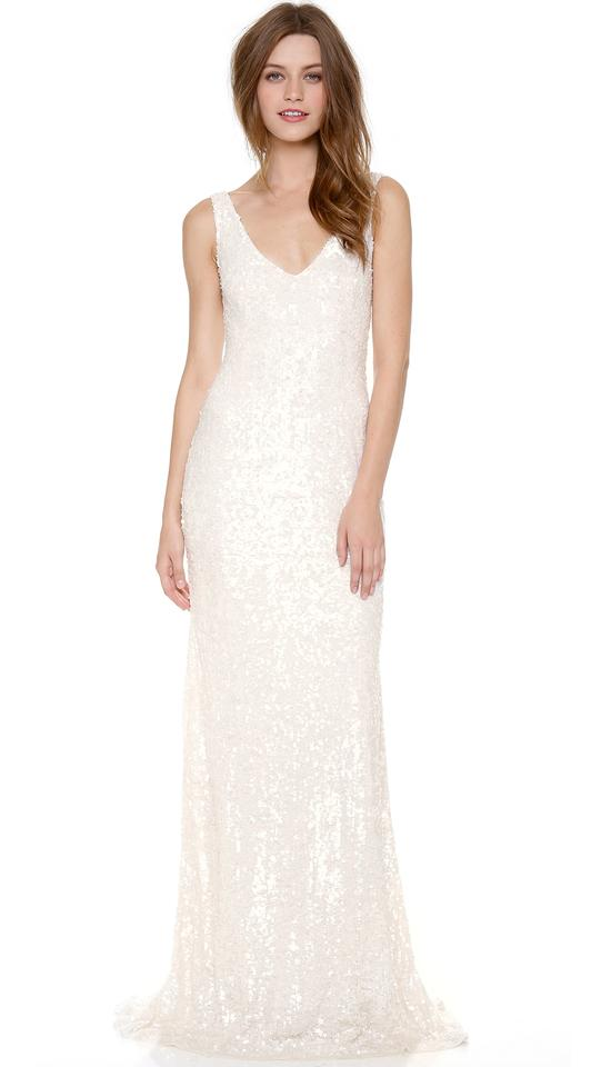 Theia White Sequined Sleeveless Scoop Neckline Gown By Bridal ...