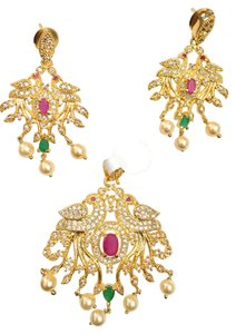Shine White stones with Emerald(Green) and Red (ruby) Crystal Peacock style pendant set