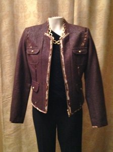 Cache Animal Print Evening Coat Bomber Brown Jacket