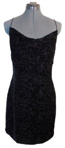 Carmen Marc Valvo Silk Beaded Dress Cocktail Dress Beaded Dress Top black