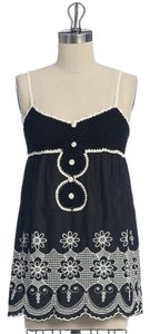 Anthropologie Tunic Floral Embroidered Babydoll Top BLACK