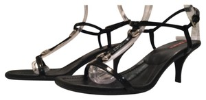 Prada Sport T-strap Patent Leather Black Sandals