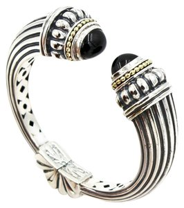 Lagos Vintage Lagos Caviar Onyx Kick Cuff Bracelet in 925 Sterling Silver and 18k Yellow Gold, Size Small