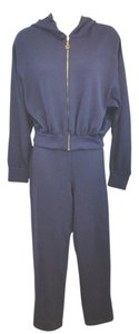 St. John ST. JOHN SPORT HOODED NAVY BLUE KNIT PANT SUIT P