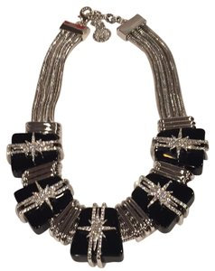 Vince Camuto Starburst Crystal Multi Row Statement Collar Necklace