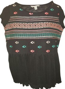American Eagle Outfitters Aztec Ruffle Sheer Top multi black turquoise blue pink