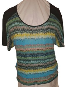 Kensie Striped Stretchy Top multi black turquoise blue pink yellow