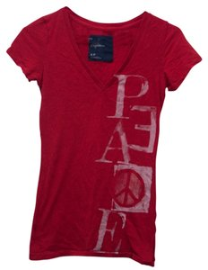 American Eagle Outfitters V-neck Peace T Shirt Red