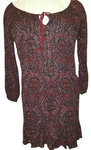 American Eagle Outfitters short dress multi red maroon black Boho Bohemian Oversized on Tradesy