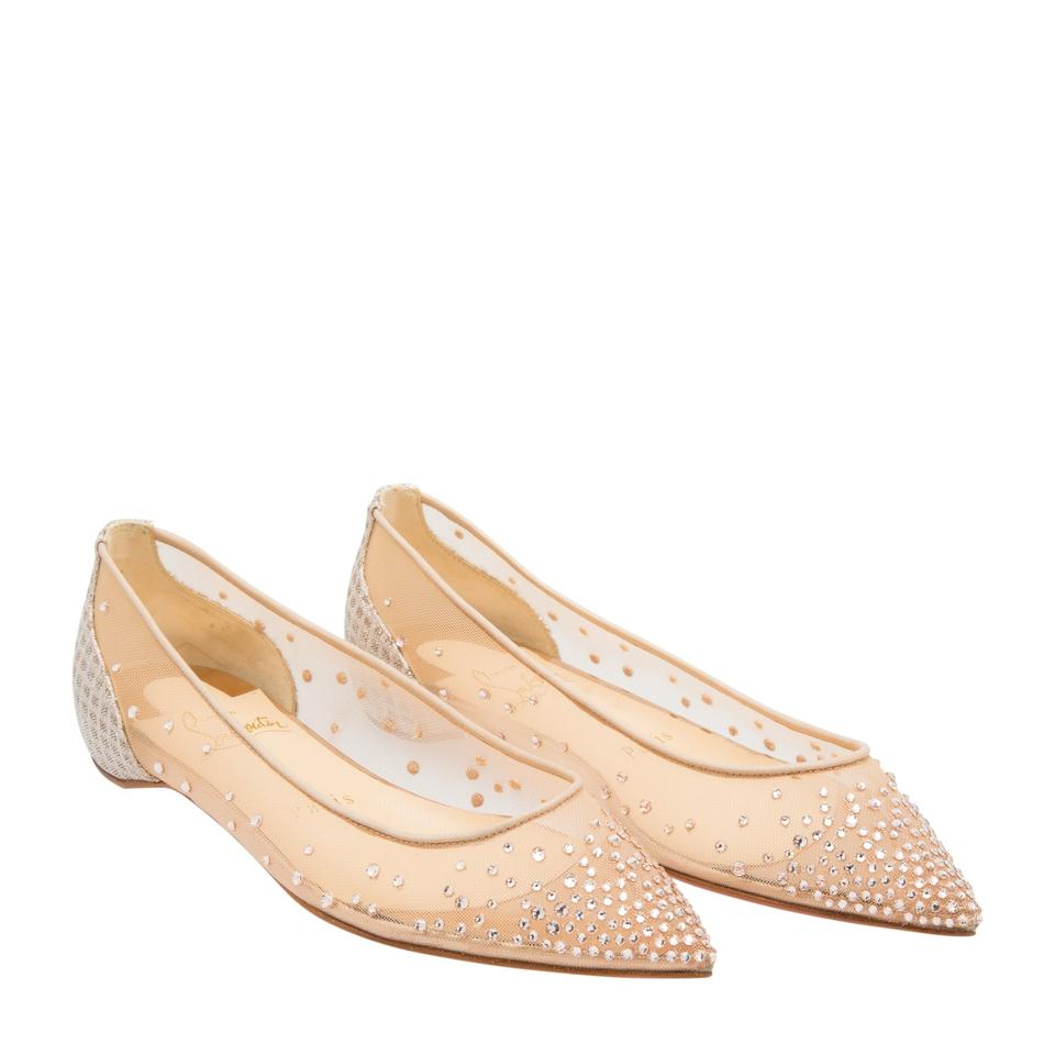 b9906dbe52e Christian Louboutin Nude Classic Follies Strass Point-toe Mesh Rete Version  Silk Crystal Flats Size EU 38 (Approx. US 8) Regular (M, B)