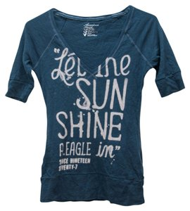 American Eagle Outfitters V-neck Sunshine T Shirt Navy Blue