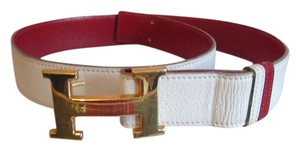 "Hermès Hermes Paris ""Constance"" Gold Buckle Reversible Red and White Leather Belt"