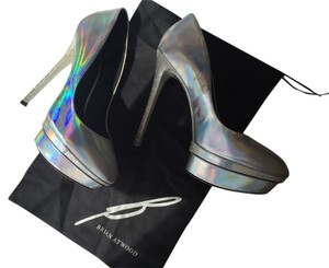 B Brian Atwood New With Tags Hologram Silver Platform Silver Hologram Pumps