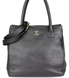 Chanel Tall Cerf Tote in Black Caviar Leather
