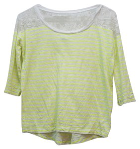 Express Lace Top Neon Yellow and White Striped
