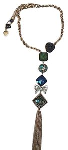 Betsey Johnson Betsey Johnson Blue Green Plaid Charm Tassle Necklace