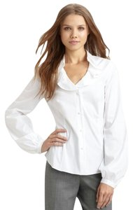 Lafayette 148 New York Ruffle Collar Button Down Shirt White