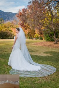 Zveil Ivory Or White Long Cathedral with Blusher Two Tier Bridal Veil
