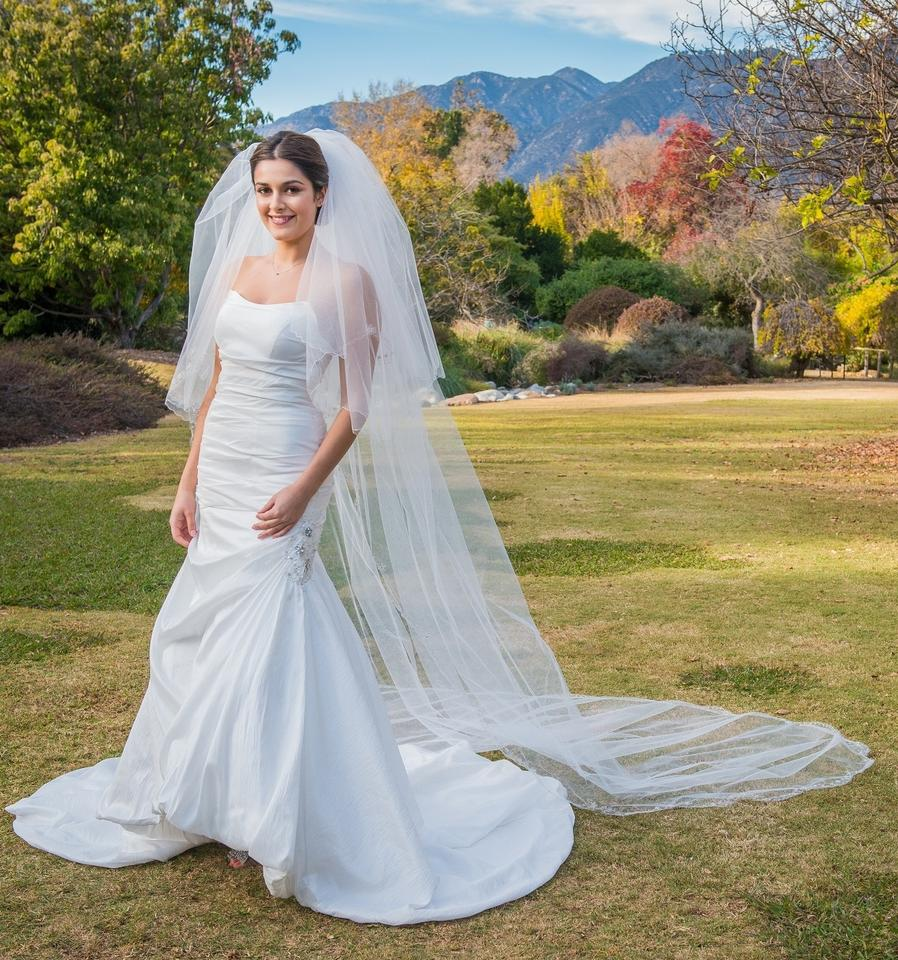 Zveil Ivory Or White Long Cathedral With Blusher Two Tier Bridal Veil Tradesy