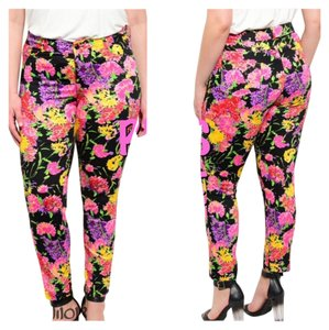 Curvy Plus Size Spring Summer Capri/Cropped Pants Floral Pinks & Yellows