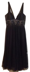 Badgley Mischka Lbd Little Party Engagement Wedding Nwot New L B D Without Tags Beaded Pleat Pleated Detail Detailed Waist Flattering Dress