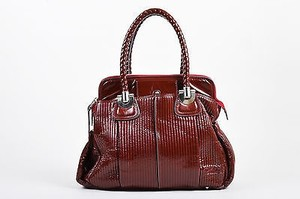 Chloé Chloe Silver Quilted Patent Leather Heloise Zip Tote in Red